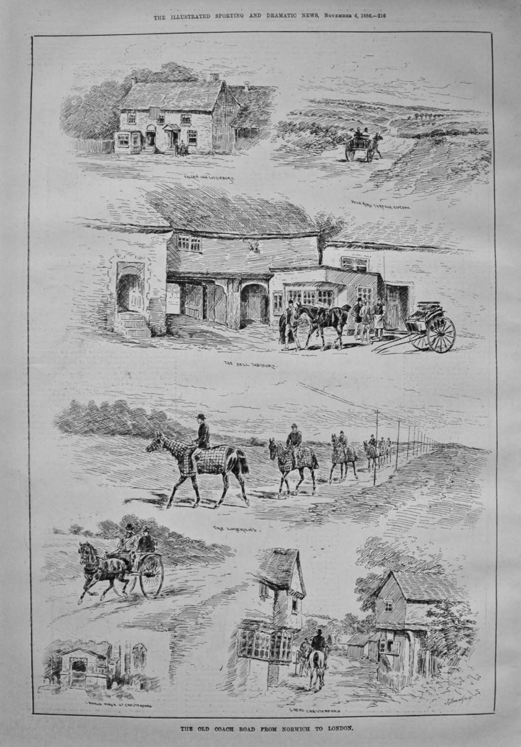 The Old Coach Road from Norwich to London. 1886
