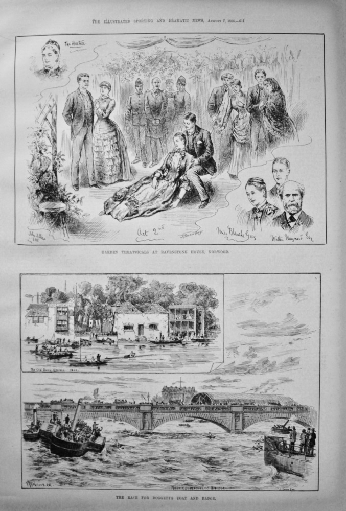 The Race for Doggett's Coat and Badge. &  Garden Theatricals at Ravenstone House, Norwood. 1886.