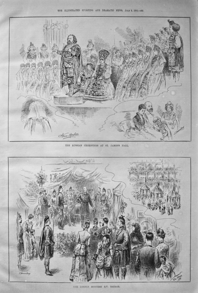 The Russian Choristers at St. James's Hall. & The London Scottish R.V. Bazaar. 1886.