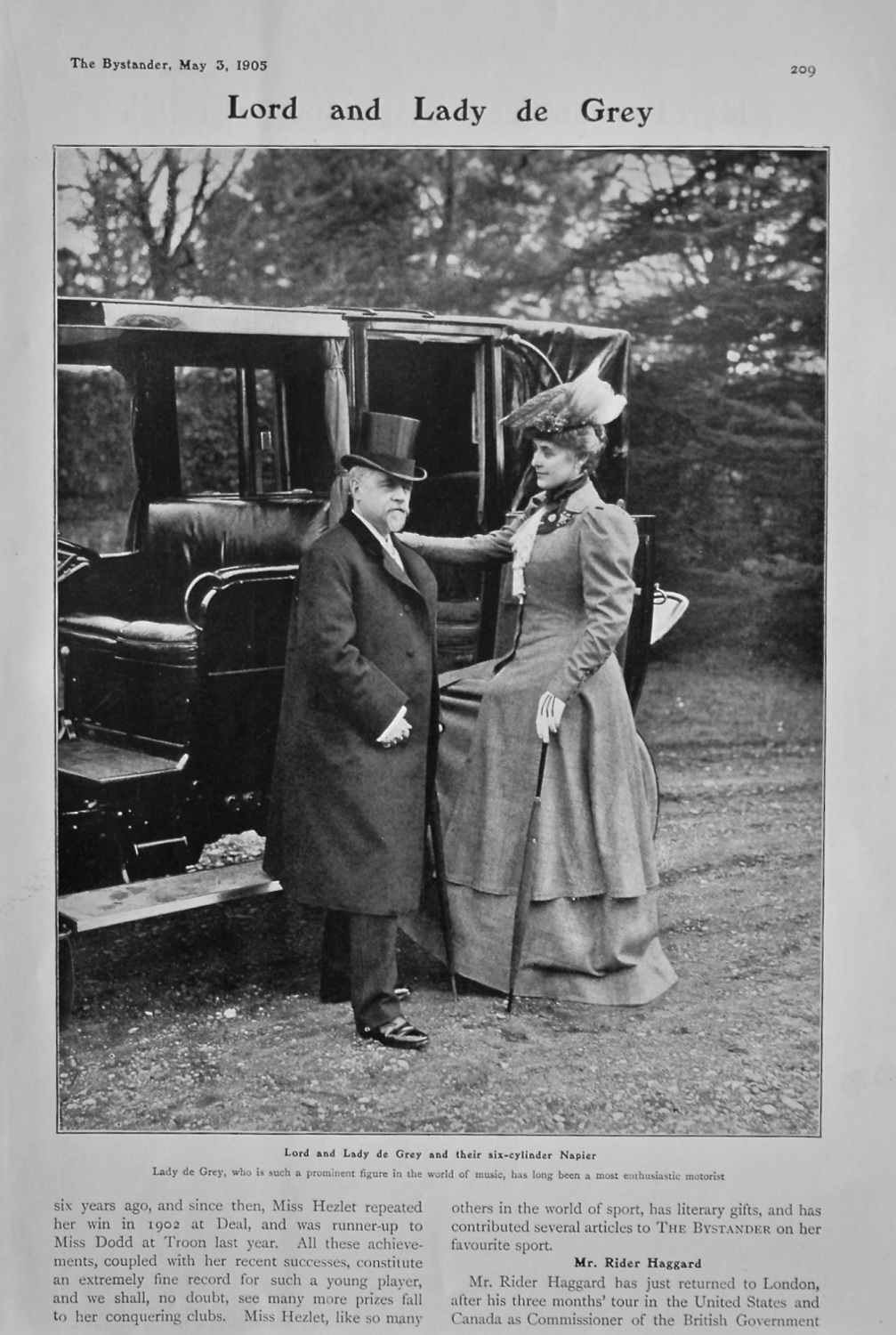 Lord and Lady de Grey and their six-cylinder Napier. 1905