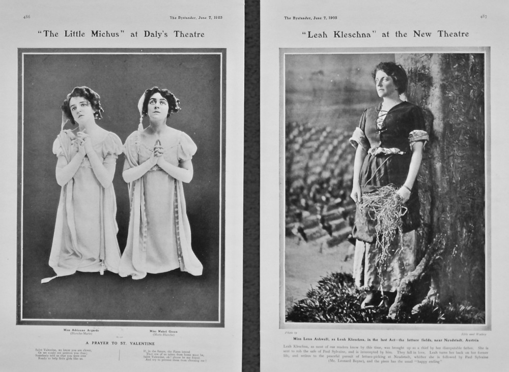 """The Little Michus"" at Daly's Theatre. & ""Leah Kleschna"" at the New Theatre. 1905."