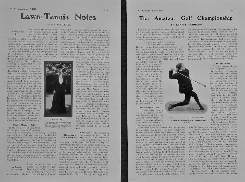 Lawn Tennis Notes.  &  The Amateur Golf Championship. 1905