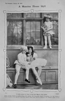 A Mansion House Idyll : A pretty picture of three of the Lord Mayor's little guests. 1907.