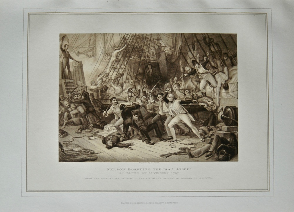 """Nelson Boarding the """"San Josef"""" at Battle of St. Vincent, 1797."""