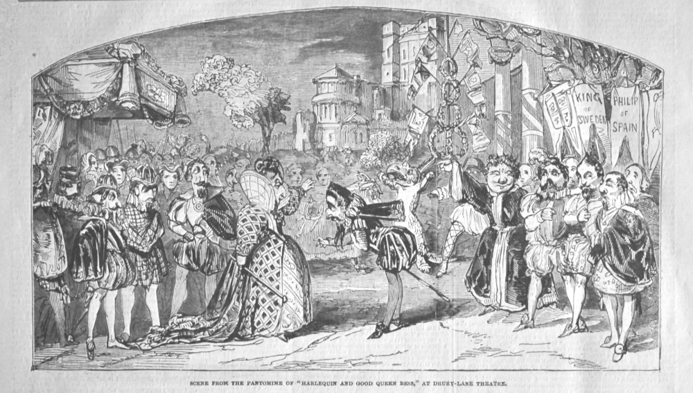 """Scene from the Pantomime of """"Harlequin and Good Queen Bess,"""" at Drury-Lane Theatre. 1849."""