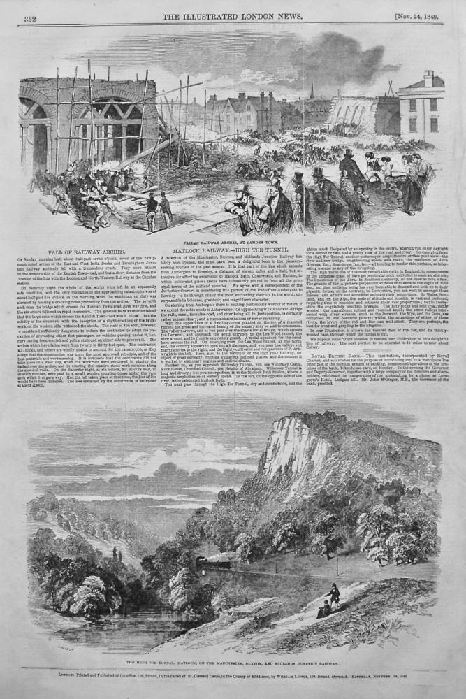 Matlock Railway.- High Tor Tunnel. 1849