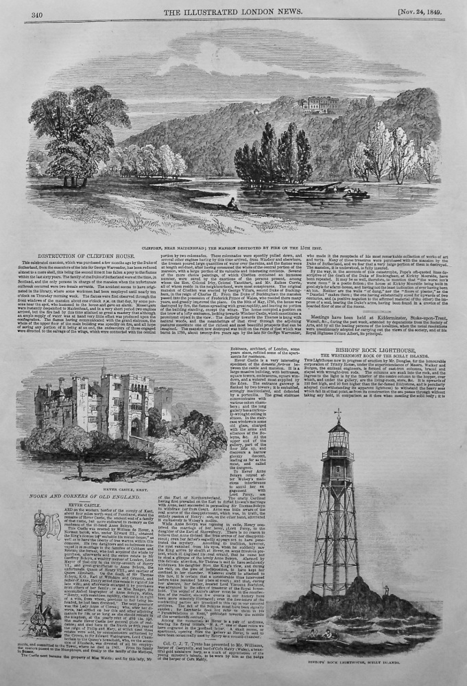 Destruction of Cliefden House. 1849.