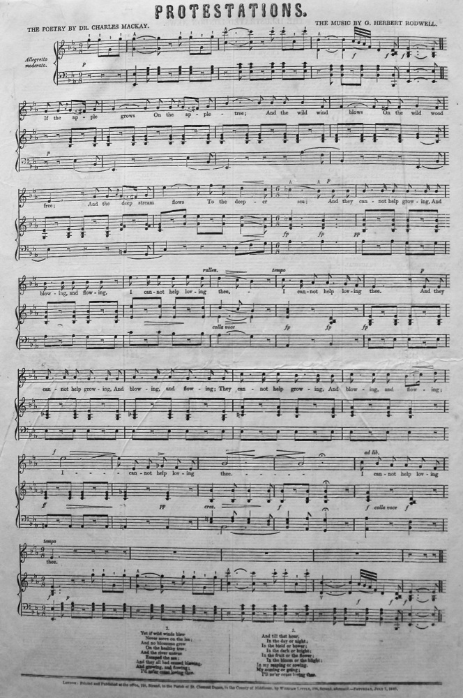 Protestations. (Sheet Music) 1849.