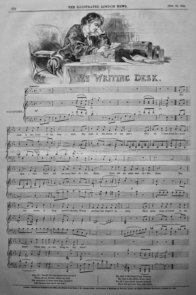 My Writing Desk. (Sheet Music). 1845.