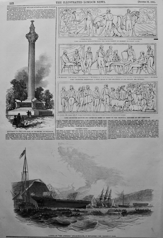 """The """"Leicester Monument""""- Laying the First Stone. 1845."""