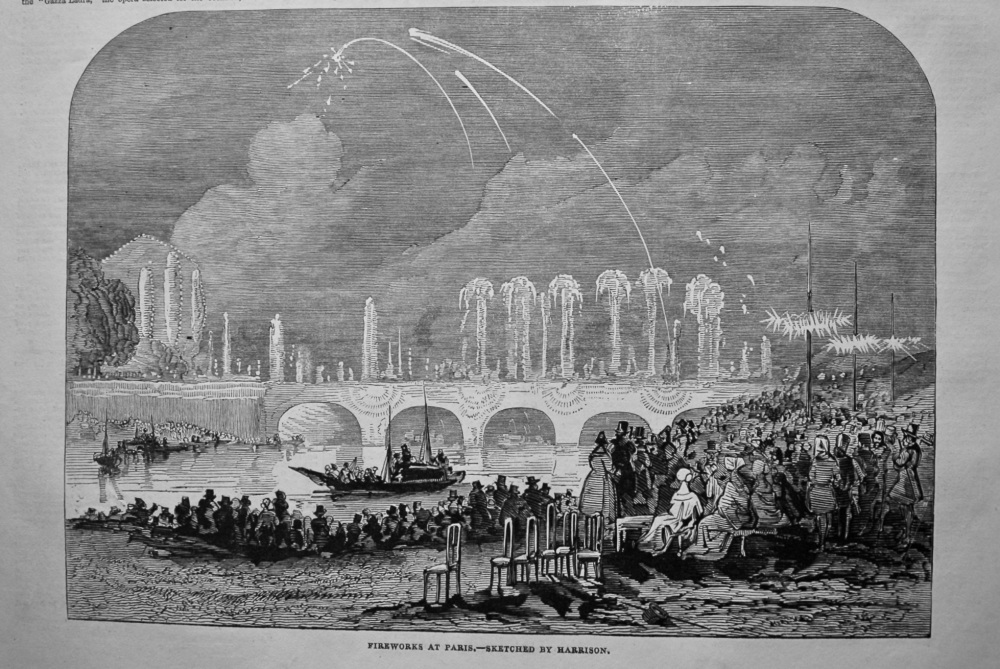 Fireworks at Paris.- Sketched by Harrison. 1845.