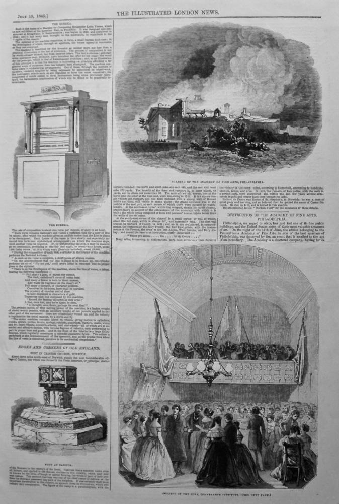 Destruction of the Academy of Fine Arts, Philadelphia. 1845.  (Fire)