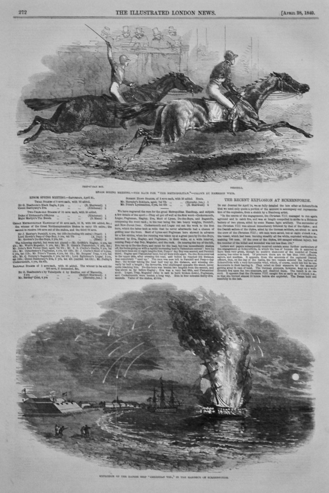"Explosion of the Danish Ship ""Chrstian VIII,"" in the Harbour of Eckernforde. 1849."