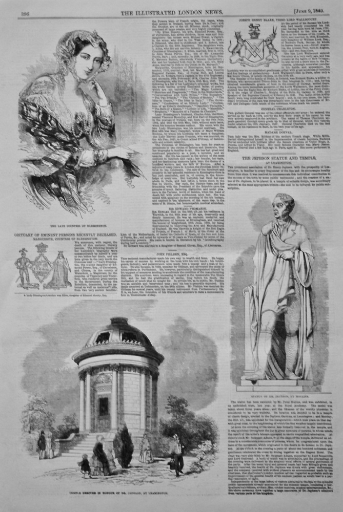 The Jephson Statue and Temple, at Leamington. 1849