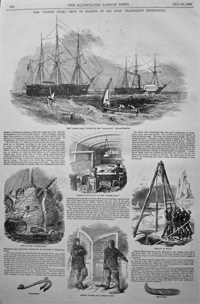 """The """"North Star,"""" Sent in Search of Sir John Franklin's Expedition. 1849."""