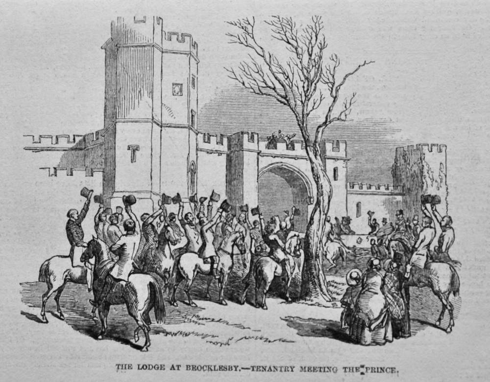 The Lodge at Brocklesby.- Tenantry Meeting the Prince. 1849.