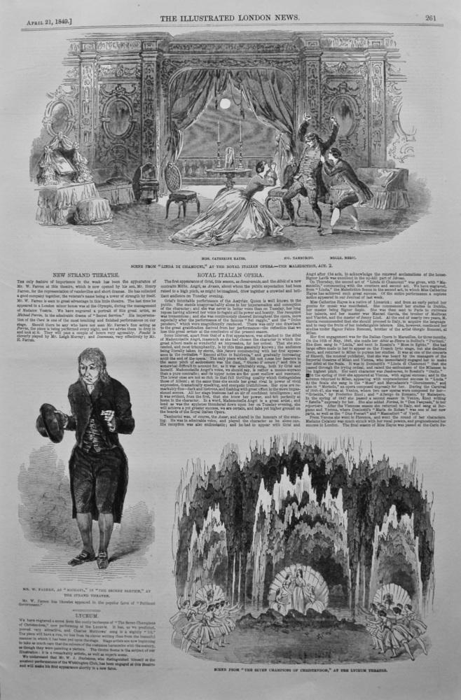 """Scene from """"Linda di Chamouni,"""" at the Royal Italian Opera. 1849."""