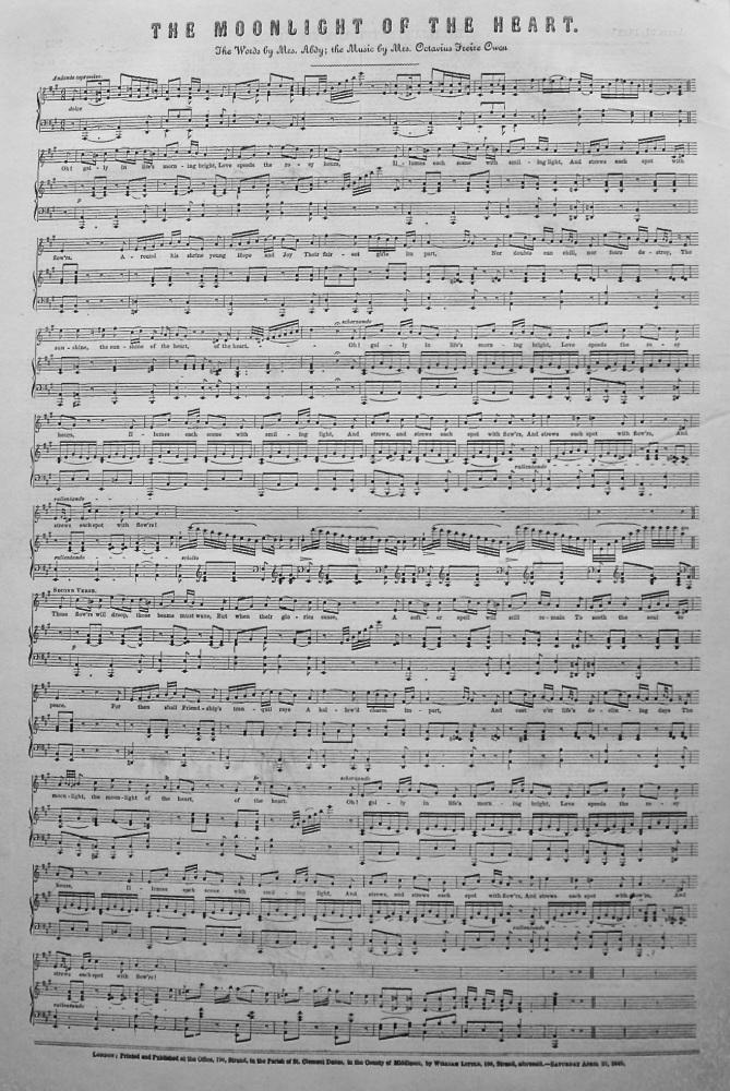The Moonlight of the Heart. 1849. (Sheet Music)