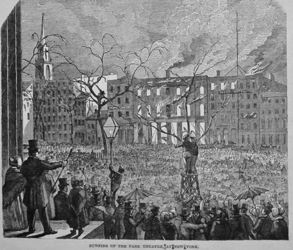 Burning of the Park Theatre, at New York. 1849.