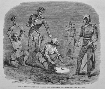 Bengal Engineer Officers Tracing the Approaches to a Fortified City at Night. 1849.
