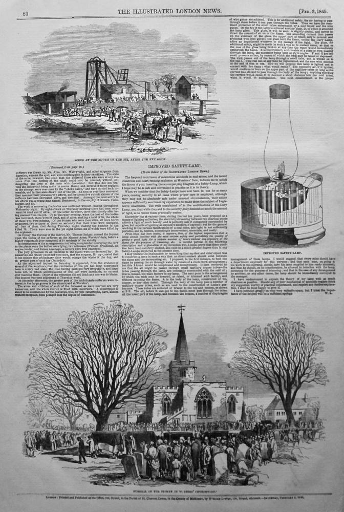 Colliery Explosion near Barnsley. (Darley Main Colliery) 1849.