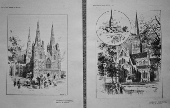Lichfield Cathedral. & Salisbury Cathedral. 1895.