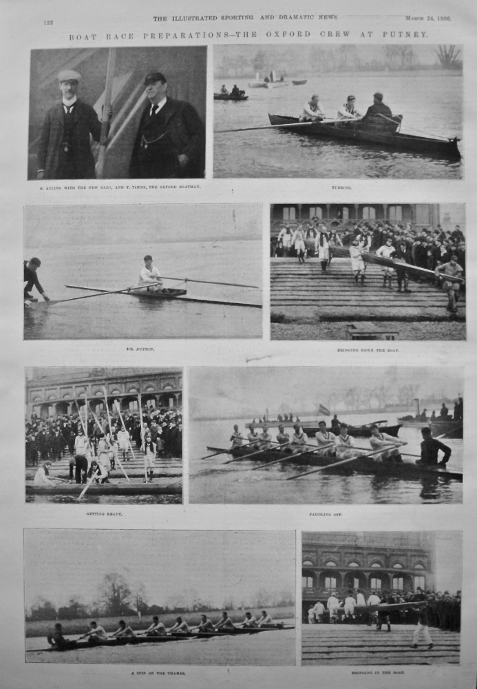 Boat Race Preparations - The Oxford Crew at Putney. 1900.