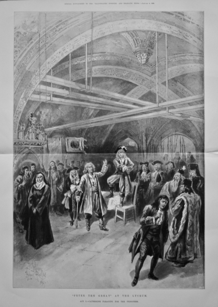 """Peter the Great"" at the Lyceum. Act 1.- Catherine Pleading for the Prisoners. 1898."