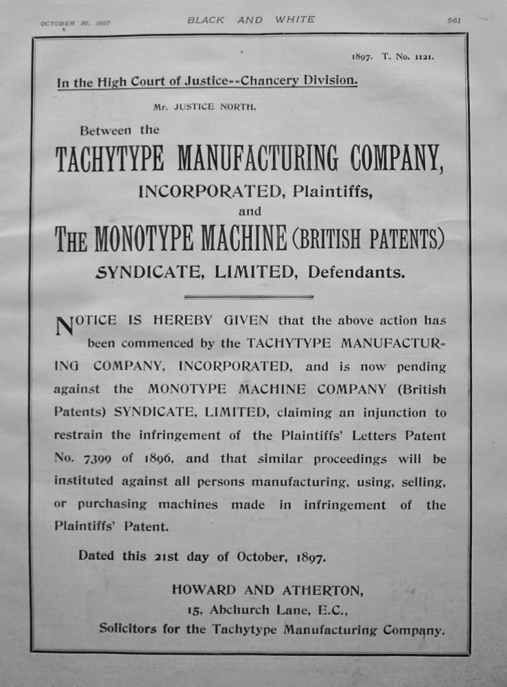 Tachytype Manufacturing Company, incorporated Plaintiffs, and The Monotype Machine (British Patents) Syndicate, Limited, Defendants. 1897.