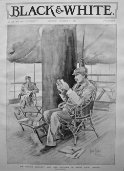 """Sir William Lockhart and Lord Methuen on Board H.M.S. """"China"""". 1897."""