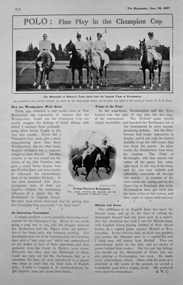 Polo : Fine Play in the Champion Cup. 1907.