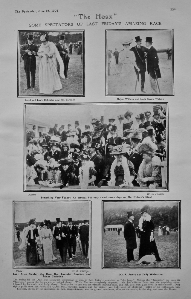 """""""The Hoax"""" Some Spectators of Last Friday's Amazing Race. (The Oaks). 1907."""