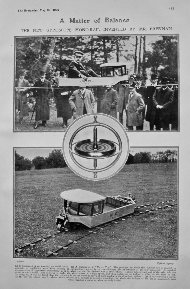A Matter of Balance : The New Gyroscope Mono-Rail Invented by Mr. Brennan. 1907.