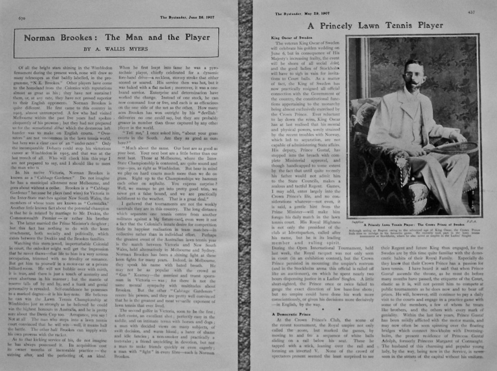 Norman Brookes : The Man and the Player.  &  A Princely Lawn Tennis Player. (The Crown Prince of Sweden). 1907.