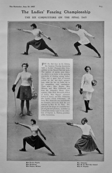 The Ladies' Fencing Championship : The Six Competitors on the Final Day. 1907.
