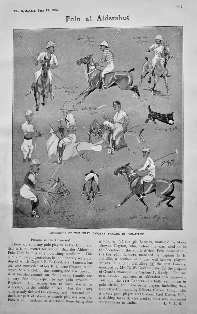 "Polo at Aldershot : Players in the Command. (Impressions of the First Cavalry Brigade by ""Snaffles"") 1907."