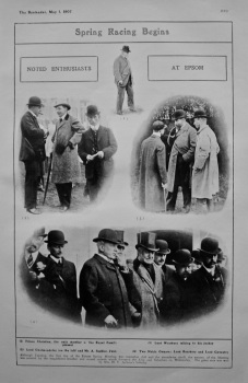 Spring Racing Begins : Noted Enthusiasts at Epsom. 1907.