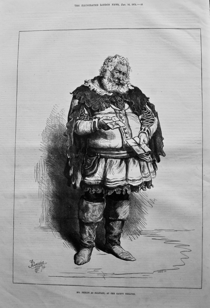 Mr. Phelps as Falstaff, at the Gaiety Theatre. 1875.