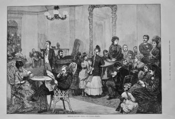 American Sketches : Hotel Life - Sunday Evening. 1875.