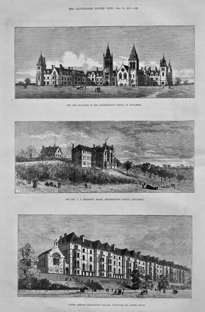 The New Buildings of the Charterhouse School, at Godalming. 1875.