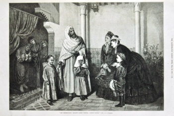 """""""The Presentation : English Ladies Visiting a Moor's House."""" 1875."""
