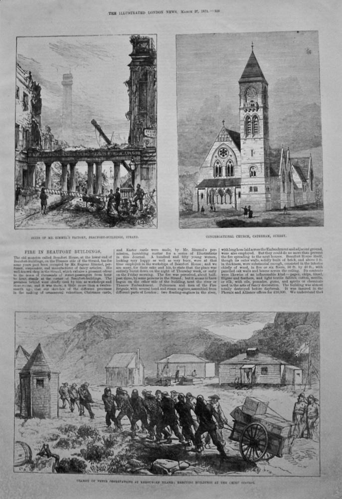 Fire in Beaufort Buildings. (London).  1875.