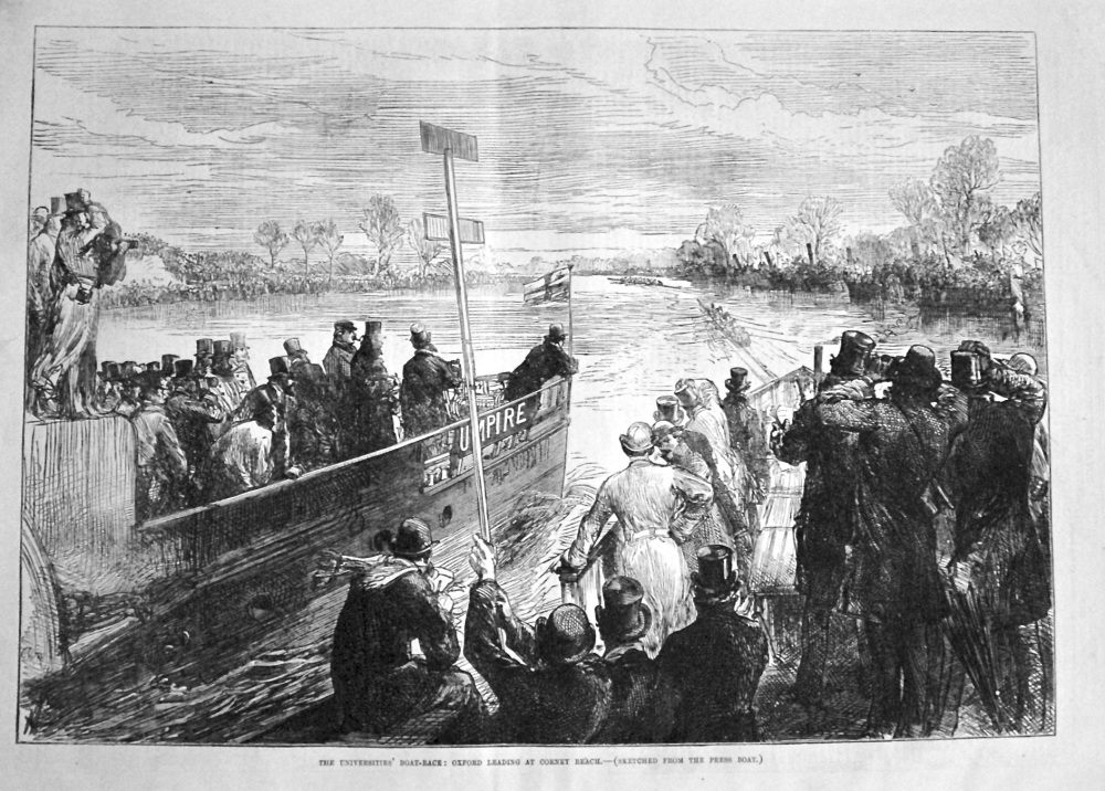 The Universities' Boat-Race : Oxford Leading at Corney Reach. - (Sketched from the Press Boat.) 1875.