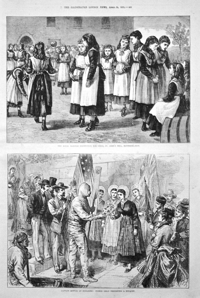 Captain Boyton at Boulogne : Fisher Girls Presenting a Bouquet. 1875.