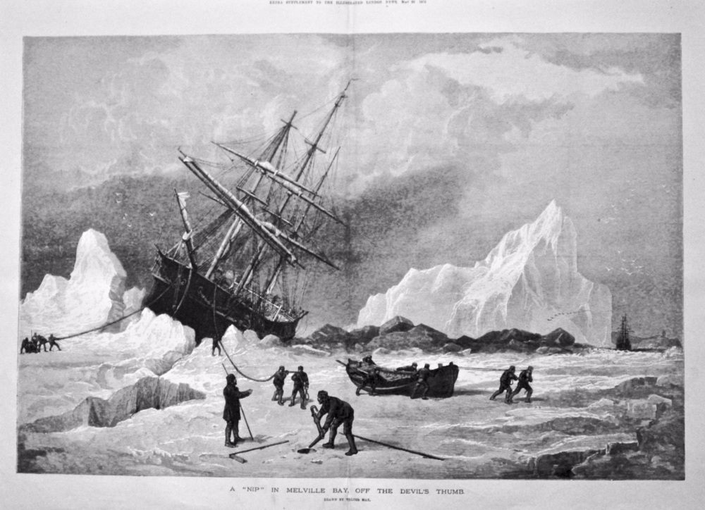 """A """"Nip"""" in Melville Bay, off the Devil's Thumb. 1875."""