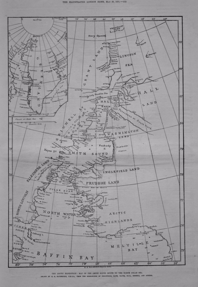 The Arctic Expedition : Map of the Smith Sound Route to the North Polar Sea. 1875.