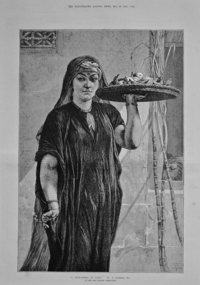 """A Fruit-Woman of Cairo.""  in the New British Institution.  By F. Goodall, R.A. 1875."