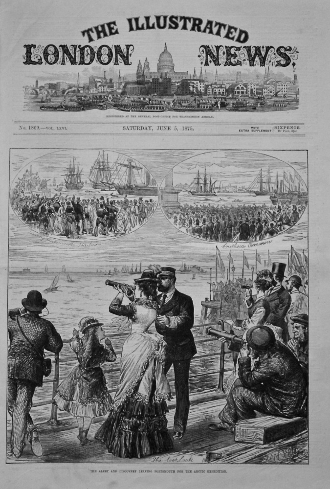 The Alert and the Discovery Leaving Portsmouth for the Arctic Expedition. 1875.