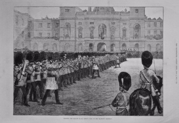 Trooping the Colours in St. James's Park on Her Majesty's Birthday. 1875.