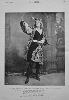"Miss Ada Rehan as Viola in ""Twelfth Night,"" at Daly's Theatre. 1894."